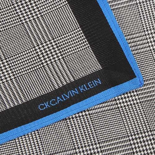 Calvin Klein 千鳥格紋純綿帕巾(黑藍色)989091-264