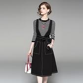 洋裝(兩件套)-吊帶長袖圓領條紋牛仔女連身裙73of145[巴黎精品]