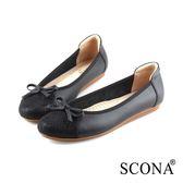 SCONA 蘇格南 全真皮 簡約舒適娃娃鞋 黑色 22803-1