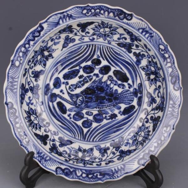 明宣德青花魚澡紋葵盤手繪仿古老貨瓷器家居中式擺件古董古玩收藏1入