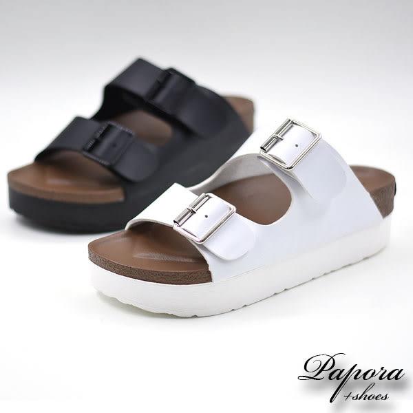 厚底涼鞋‧雙版扣帶厚底防水台輕量涼拖鞋【K8205-180】黑/白二色