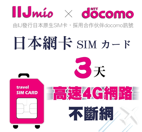 IIJ官方訊號3天日本網卡,採用docomo訊號,北海道、沖繩皆覆蓋 (期限2020/3/30)