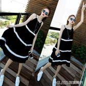 吊帶裙/洋裝 大碼女裝新款胖mm雪紡洋裝子顯瘦寬鬆溫柔風吊帶裙沙灘裙    琉璃美衣