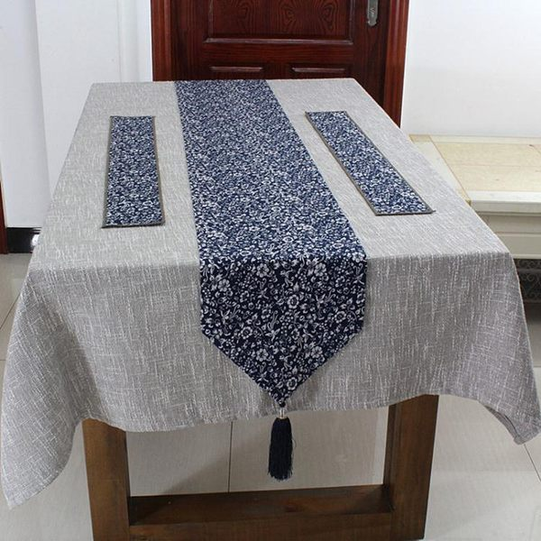 復古桌旗中式棉麻居家布藝餐桌旗小青花瓷茶席禪意茶墊桌搭茶簾巾