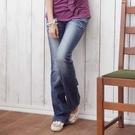 牛仔褲--獨特壓力造型鬼爪痕長向刷白細刷...