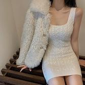 春季緊身小個子毛衣吊帶包臀連身裙女氣質2021年新款針織打底裙子 韓國時尚週 免運