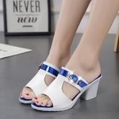快速出貨 夏季 網紅中跟女鞋坡跟時尚一字拖女士高跟粗跟涼拖鞋 外穿