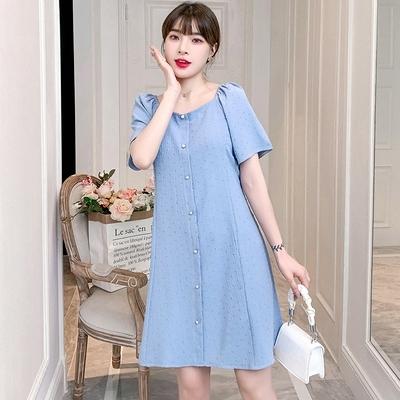 M-4XL胖妹妹大碼洋裝連身裙~~大碼女裝氣質連身裙胖MM中長款法式時尚0961.3F003愛尚布衣