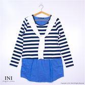 【INI】清新氣質、條紋拼接牛仔口袋長版上衣.深藍色