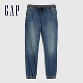 Gap男裝 時尚水洗中腰鬆緊牛仔褲 754263-靛藍色