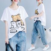 原創文藝夏季短袖T恤大碼寬松文藝小熊印花上衣不對稱純棉女t恤8637(N502-D)愛尚布衣