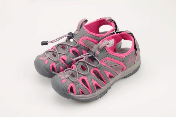 女款 佳績布魔鬼氈設計織帶護趾 運動涼鞋 灰桃 59鞋廊