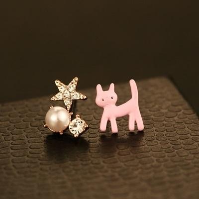 耳環 玫瑰金純銀鑲鑽-迷人小貓生日情人節禮物女飾品2色73ca52【時尚巴黎】