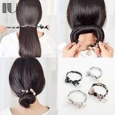 韓國扎頭髮神器頭飾品女花苞懶人成人蓬鬆珍珠丸子頭盤髮器造型器