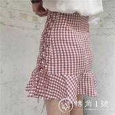 夏裝女裝韓版高腰顯瘦百搭綁帶格子荷葉邊半身裙短裙學生A字裙潮