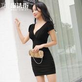 2019夏季款女裝夜店性感連身裙 修身包臀短袖夜場氣質短裙 快速出貨