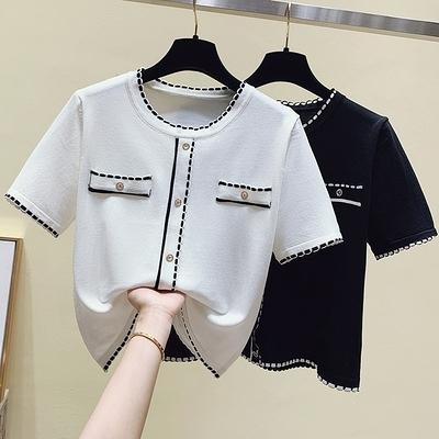 短T ICELOLLY 薄款短袖針織開衫女夏季新款小香風短款T恤上衣FFA039依佳衣