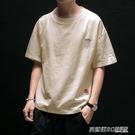 亞麻短袖t恤男夏季寬鬆加肥大碼五分半袖潮流中國風刺繡棉麻上衣 英賽爾