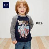 Gap男嬰幼童 DC正義者聯盟系列 純棉兒童印花內搭長袖T恤357936-靛藍色