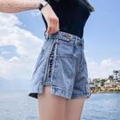 休閒短褲短褲女夏寬鬆夏季新款潮顯瘦網紅刺繡高腰闊腿a字牛仔褲 快速出貨