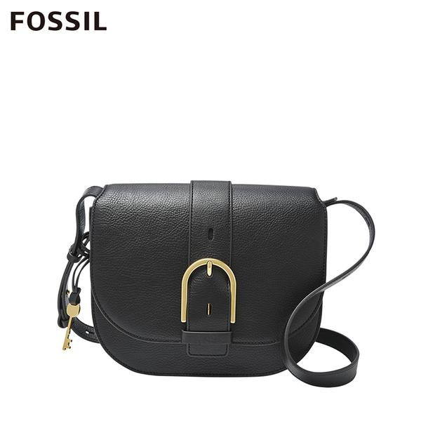 FOSSIL WILEY 真皮復古美型馬鞍包-黑色 ZB7957001