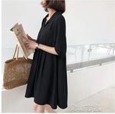 孕婦裝夏裝洋裝潮媽時尚 夏季新款黑色上衣洋氣職業 裙子 青山市集