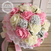 韓式新娘手捧花婚禮滿天星手捧花仿真鮮花球攝影影樓道具婚慶  居家物語