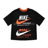 Nike 短袖T恤 NSW Tee 黑 橘 女款 短T 短版 運動休閒 【ACS】 CJ2041-010