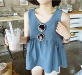 2018夏季新款韓版寬鬆顯瘦高腰娃娃衫女減齡百搭無袖背心棉麻上衣 小巨蛋之家
