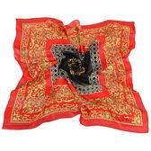 Christian Dior 古典雕花紋緞面領帕巾(紅) 179011-2