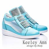★零碼出清★Keeley Ann 樂活主義 ~ 全真皮水鑽紗網內增高休閒鞋(淺藍-ANGEL系列)