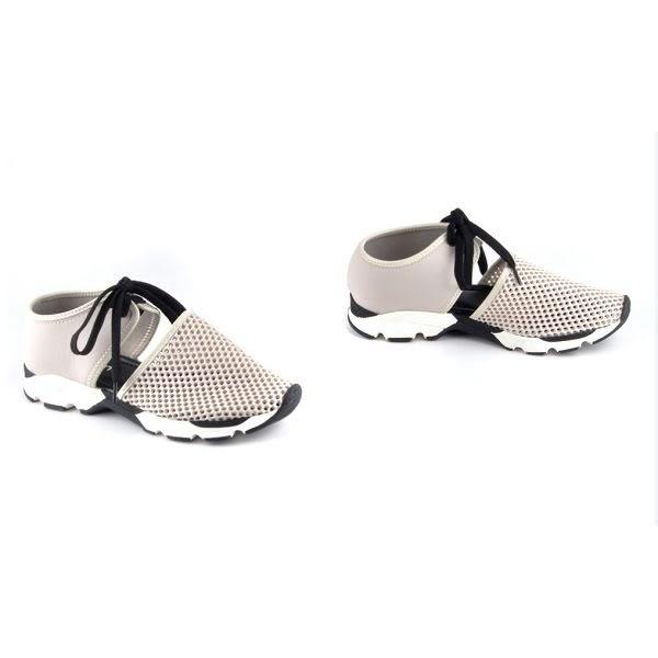 ALL BLACK   網布沖孔純色綁帶休閒鞋-米色