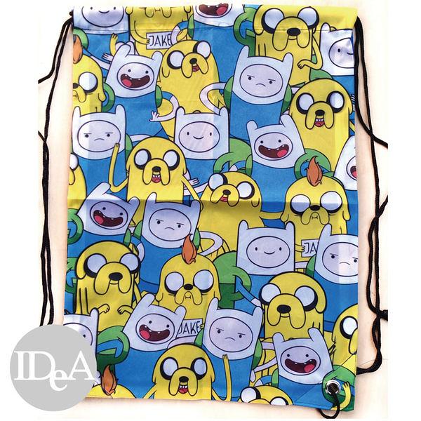 探險活寶 Adventure Time 阿寶老皮雙肩束口後背包 尼龍繩 運動 游泳 球 衣 裝 具 鞋 練習袋 training bag