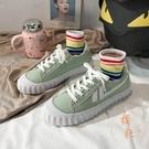 帆布鞋女鞋學生休閒鞋 餅乾鞋低幫港風板鞋【橘社小鎮】