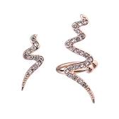 耳環 925純銀鑲鑽-金蛇狂舞生日情人節禮物女飾品2色73gs8【時尚巴黎】