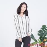 【RED HOUSE 蕾赫斯】休閒直條紋襯衫(白色)