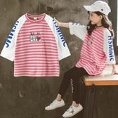 童裝女童T恤秋裝2019新款韓版中大兒童超洋氣春秋季長袖條紋上衣