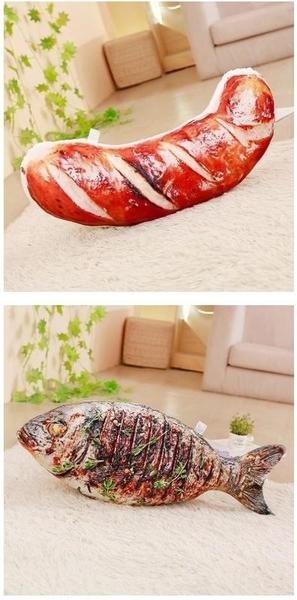 【10款】仿真食物抱枕 烤魚 烤雞翅 烤乳豬 秋刀魚 蹄膀 玩偶 絨毛娃娃 聖誕節交換禮物 餐廳擺設