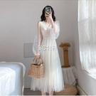 春夏新款法式優雅美仙女裙長款CHIN超仙網紗森系梗桔長洋裝