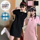 EASON SHOP(GQ1008)實拍100純棉學院風大口釦排釦撞色POLO翻領直筒五分短袖連身裙洋裝女膝上裙短裙