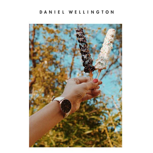 DW手錶 官方旗艦店 32mm金框 Classic Petite 純真白真皮皮革 - Daniel Wellington