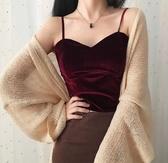 金絲絨小吊帶背心女西裝內搭打底衫秋冬外穿性感短款抹胸上衣露肩 阿卡娜