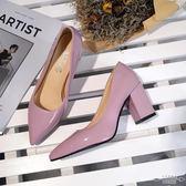 大碼低跟 女漆皮粗跟尖頭淺口小白色OL單鞋33-48 - 古梵希鞋包