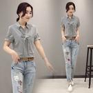 FINDSENSE G5 韓國時尚 夏季新款 條紋短袖上衣+牛仔褲 兩件套 顯瘦