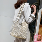 包包韓版草編蕾絲側背包手提包女士水桶購物袋【匯美優品】