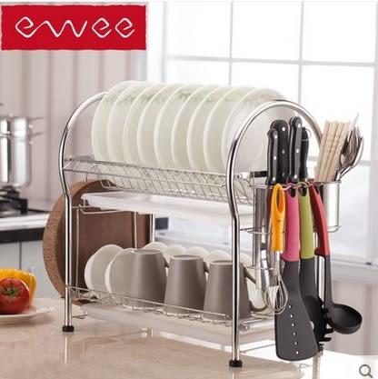 304不銹鋼廚房置物架碗筷晾放濾水碗碟架【兩層】