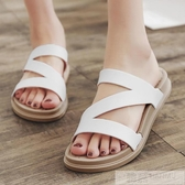 時尚一字拖鞋女士沙灘鞋厚底防滑平底夏季涼拖鞋外穿2020新款室外 韓慕精品