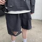 網紅牛仔短褲男潮牌破洞中褲男生褲子ins港風潮流百搭五分褲寬鬆【快速出貨】