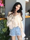 一字肩上衣 夏季新款韓版吊帶雪紡襯衣女仙女范一字肩上衣心機襯衫設計感超仙 夢幻衣都