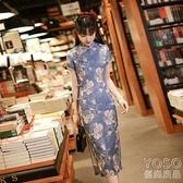 中國風洋裝 改良版旗袍連衣裙復古優雅年輕款少女蝕骨輕熟中國風中長裙日常 快速出貨